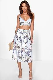 boohoo clothes vaida floral midi skirt bralet co ord set boohoo