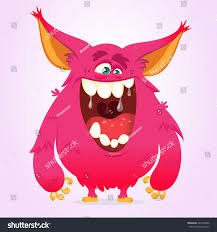 Cartoon Halloween Monsters Happy Cartoon Monster Vector Halloween Pink Stock Vector 466150622