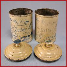 Antique Canisters Kitchen Set Of 2 Antique German Miniature Round Sugar Coffee Canisters For