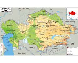 Physical Map Of China by Maps Of Kazakhstan Detailed Map Of Kazakhstan In English