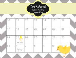 calendar baby shower calendar template