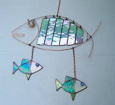 stained glass fish mobile wind chime hanging suncatcher garden