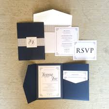 rustic pocket wedding invitations sample 5x7 navy and silver vintage pocket wedding invitation with