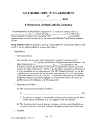 Sample Investment Agreement Free Wisconsin Llc Operating Agreement Forms Word Pdf Eforms