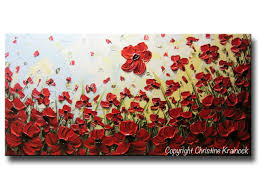 Poppy Home Decor by Custom Art Abstract Painting Red Poppy Flowers Large Art