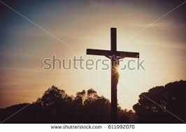 jesus on cross silhouette sunset stock photo 611992070