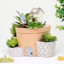 succulent house resin happy house pots cacti succulent plant pot flower planter
