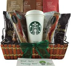 coffee baskets starbucks coffee and cocoa sler gift basket