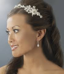 bridal headband freshwater pearl silver floral bridal hair vine side