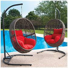 Wilson And Fisher Wicker Patio Furniture Wilson U0026 Fisher Resin Wicker Cushioned Hanging Egg Chairs Home