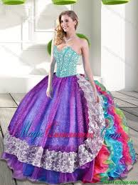fifteen dresses 2015 sweetheart multi color quinceanera dresses with beading and
