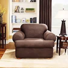 2 piece t cushion sofa slipcover sure fit stretch leather 2 piece t cushion chair slipcover brown