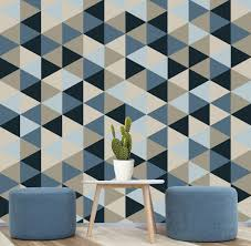 Adhesive Wallpaper by Geometric Removable Wallpaper Blue Navy Creams Self
