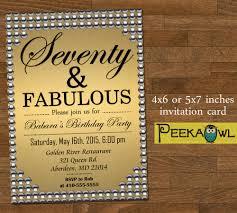 80th Birthday Invitation Cards Printable Gold Pearl 70th Birthday Invitation Card Seventy