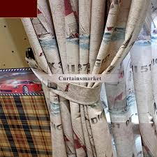 Nautical Curtain Fabric And Vintage Printing Nautical Fabric Curtains