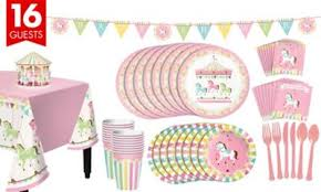 carousel baby shower pink carousel baby shower kit for 16 guests party city canada