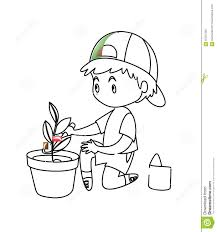 little boy planting a plant coloring page stock illustration