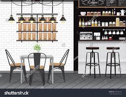 Bar Interior Design Modern Flat Design Kitchen Bar Interior Stock Vector 642280132