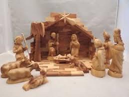 wooden nativity set carved 12 pc wood wooden nativity set manger