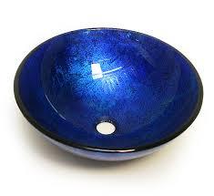 blue glass vessel sink blue glass sink bowl sink ideas