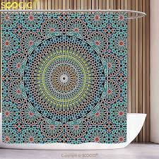 waterproof shower curtain geometric decor traditional middle