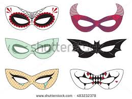 blank carnival assorted masks icons templates stock vector
