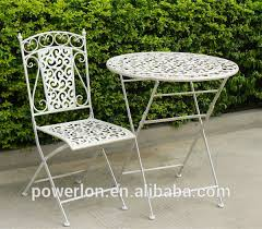 Folding Patio Bistro Set Outdoor Decorative Vintage Folding Metal Wholesale Antique Gray