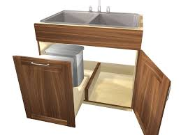 what sizes do sink base cabinets come in 2 door 1 false front sink base cabinet with trash rollout on left side