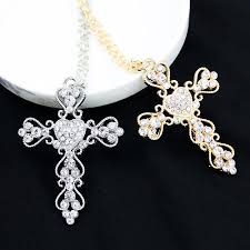 big necklace pendants images Big heart rhinestone embroidered hearts cross necklace the cross jpg