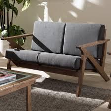 Wooden Table Ls For Living Room Baxton Studio Cymone Mid Century Modern Walnut Wood Grey Fabric