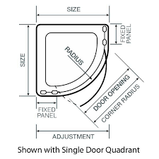 1000mm x 1000mm aqualux pura single door shower quadrant enclosure
