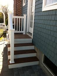 outdoor steps with railing side entrance backdoor backyard nj