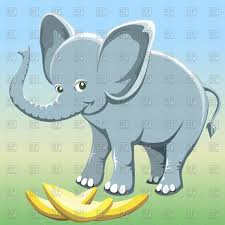 funny elephant and bananas in cartoon style vector image 63088