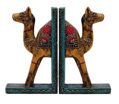 bulk wholesale handmade 9 u201d wooden camel bookends with in red blue