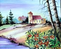 gunaroopam hruarts u003e u003e water color house on river bank