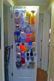 Door Shoe Organizer Repurpose An Over The Door Shoe Holder Into A Cleaning Products