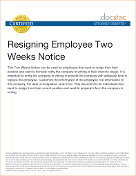 11 2 weeks notice exle basic appication letter