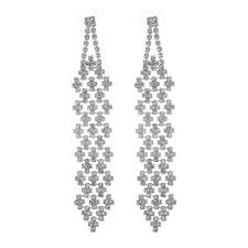silver chandelier earrings rhinestone statement chandelier earrings silver tone