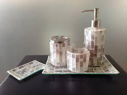pearl mosaic crackle glass bathroom accessory set view bathroom