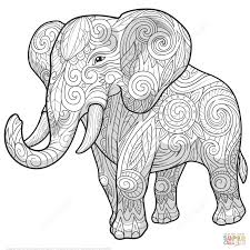 elephant ethnic zentangle coloring page free printable coloring
