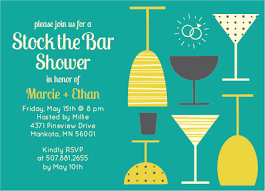 stock the bar invitations the bar drink glasses shower invitations