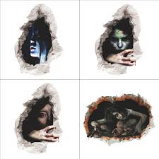 halloween 3d horror ghost wall stickers removable scary wall halloween 3d horror ghost wall stickers removable scary wall decals home decor ebay