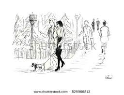 sketch people park modern city background stock illustration