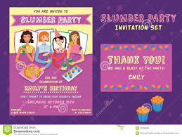 sleepover party invites sleepover birthday party invitation card stock vector image
