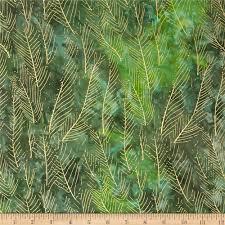 indian batik montego bay leaf metallic green from fabricdotcom