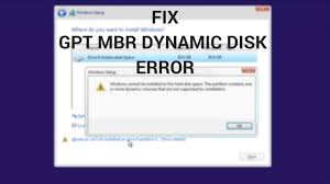 cannot format gpt drive fix windows cannot be installed to this disk gpt mbr dynamic