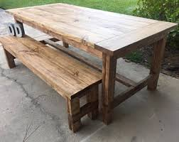 Farm Tables With Benches Farmhouse Table Etsy