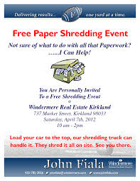 where to shred papers for free free paper shredding event 4 7 2012 10 to 2 fiala