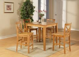 Dining Room Pub Sets 5pc Square Pub Counter Table Set 4 Wood Seat Stools In Oak
