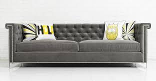 gray velvet sofa with nailheads 11066